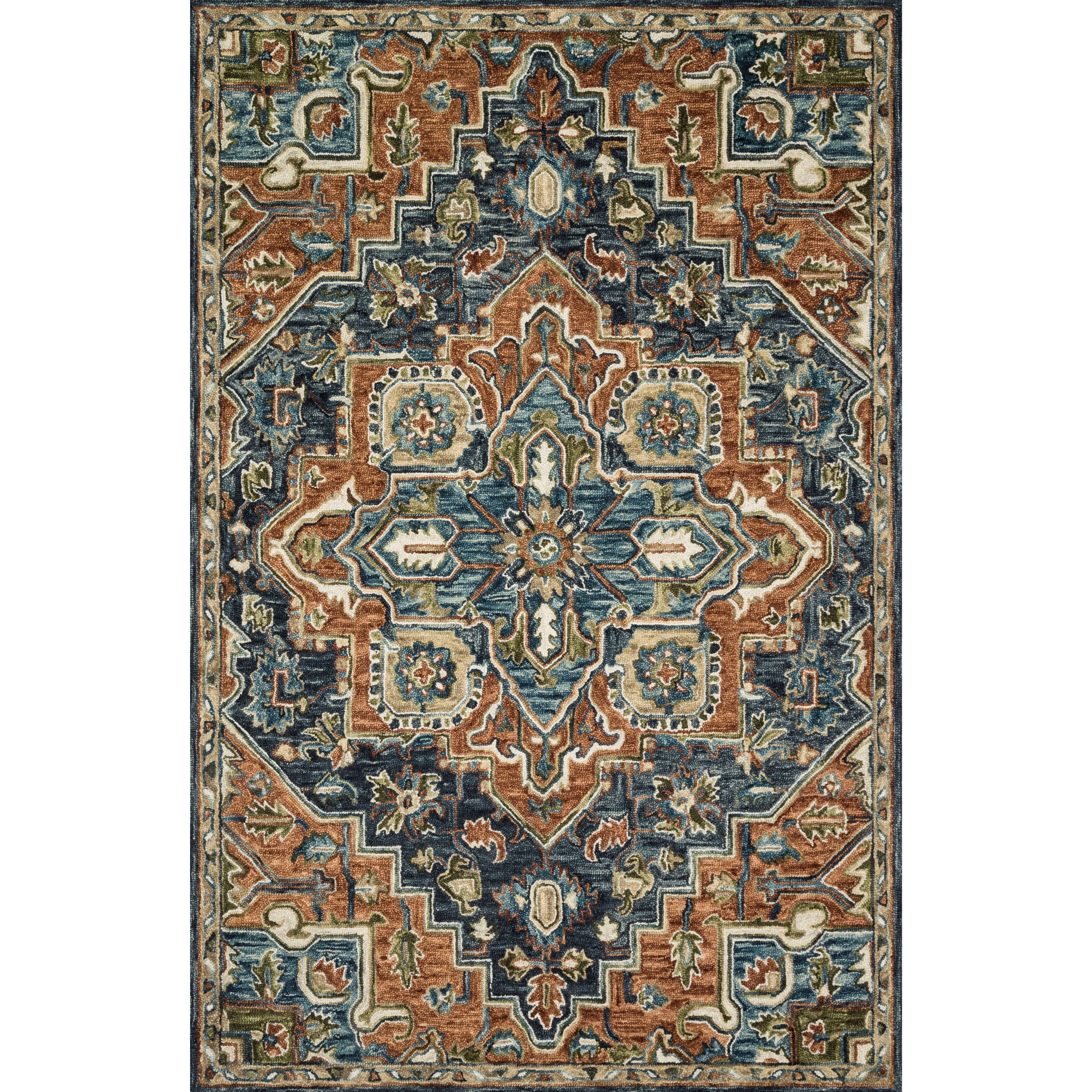 """Victoria 1'6"""" x 1'6""""  Rust / Multi Rug by Loloi Rugs at Virginia Furniture Market"""