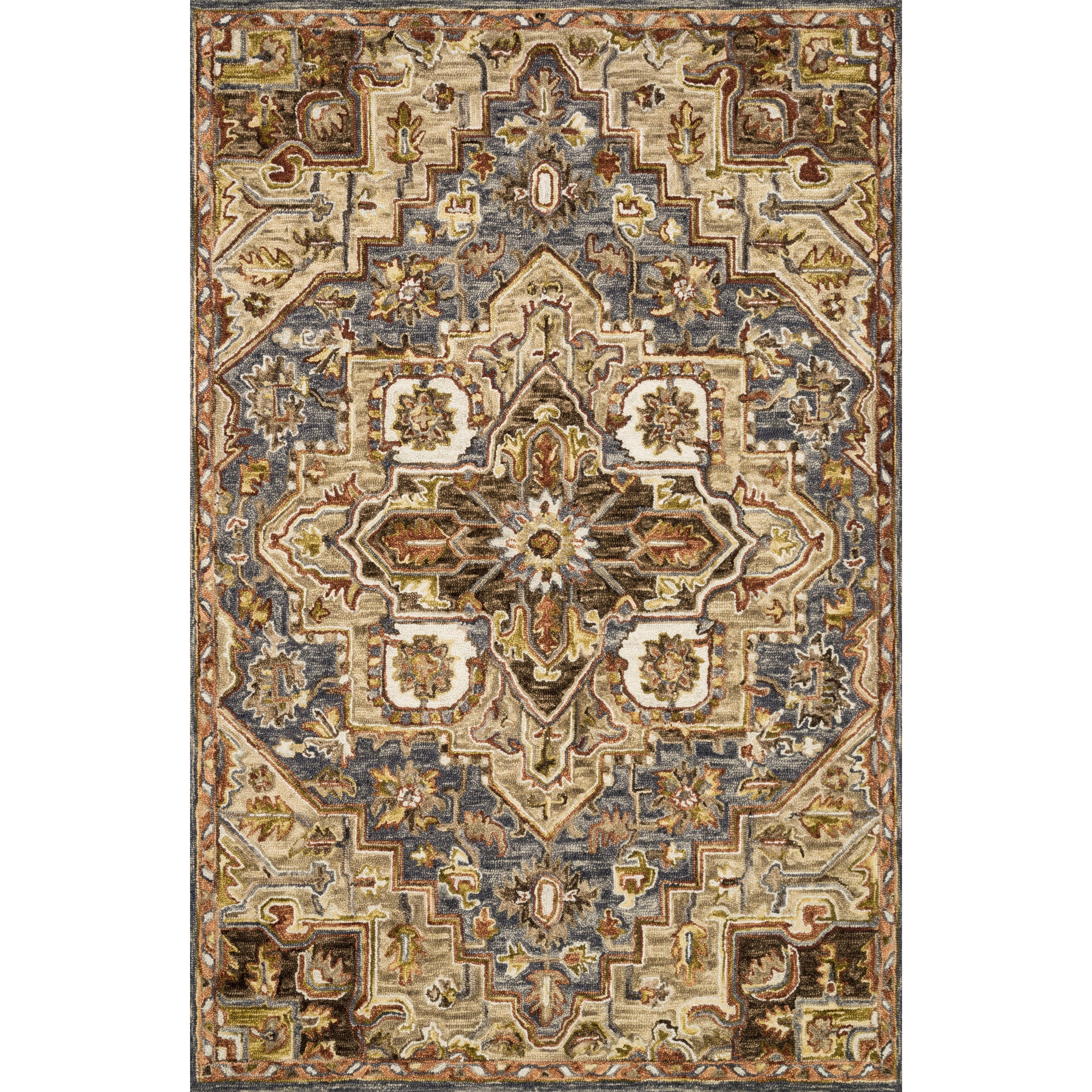 """Victoria 5'0"""" x 7'6"""" Smoke / Sand Rug by Loloi Rugs at Virginia Furniture Market"""