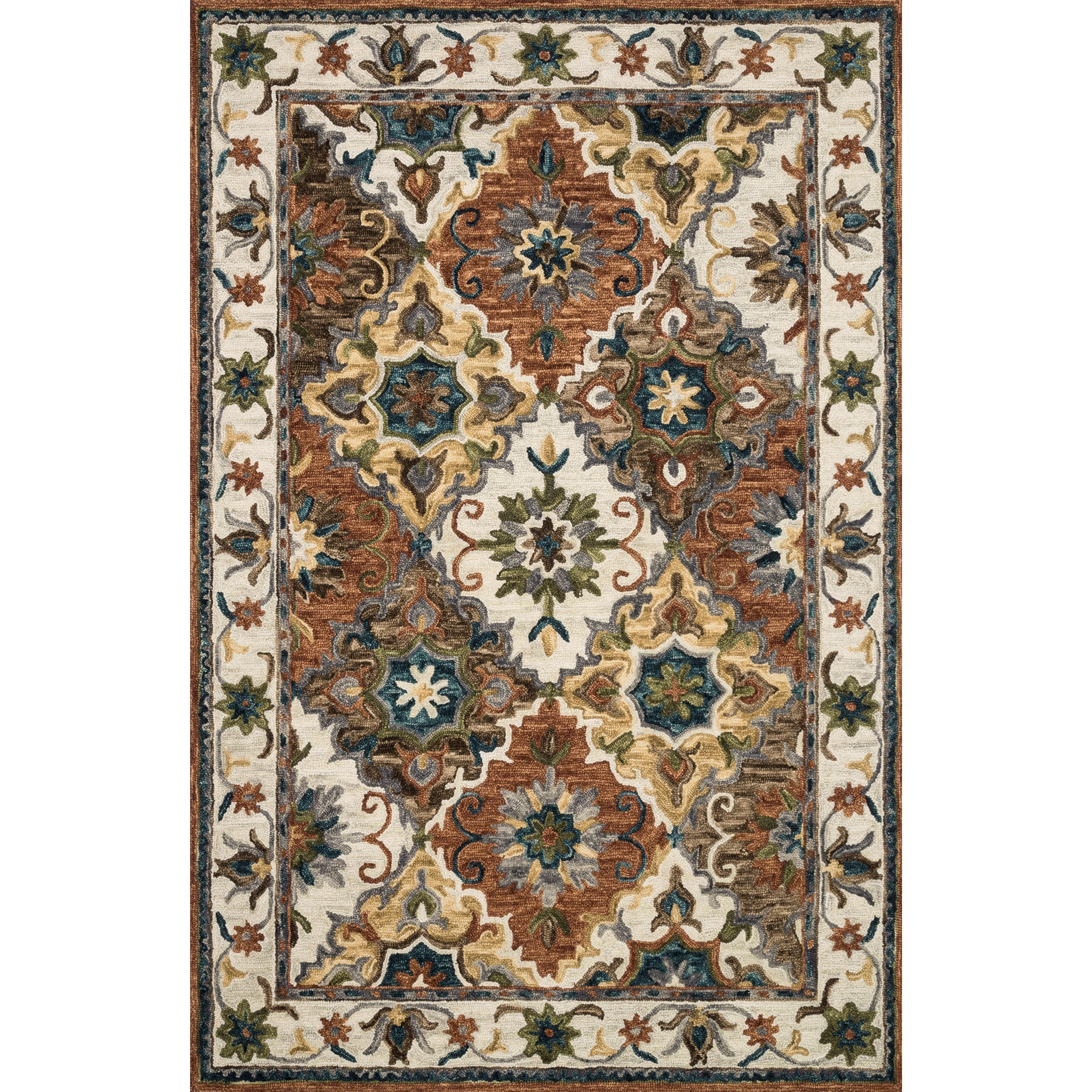 """Victoria 7'9"""" x 9'9"""" Multi / Ivory Rug by Loloi Rugs at Virginia Furniture Market"""