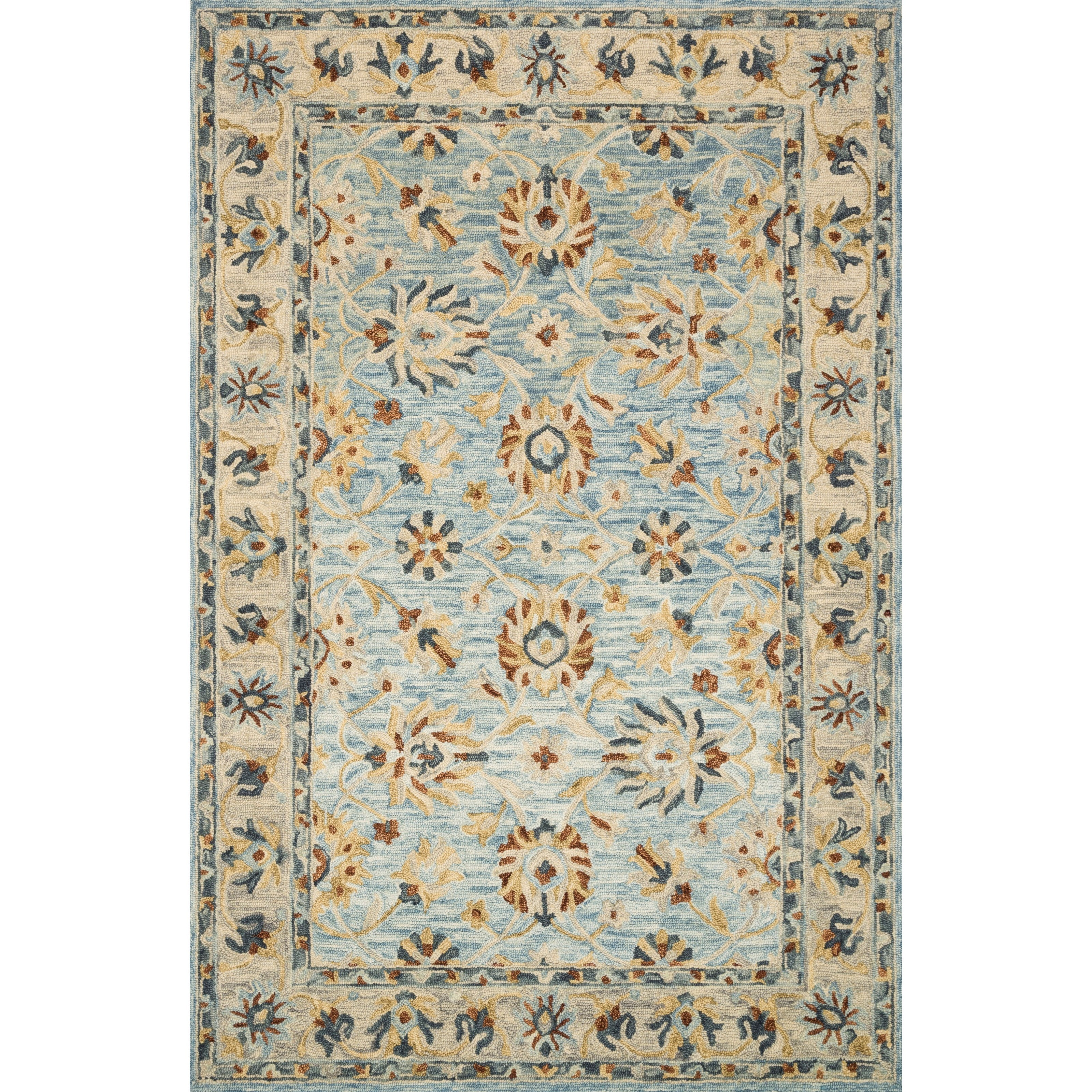 """Victoria 5'0"""" x 7'6"""" Lt. Blue / Natural Rug by Loloi Rugs at Virginia Furniture Market"""