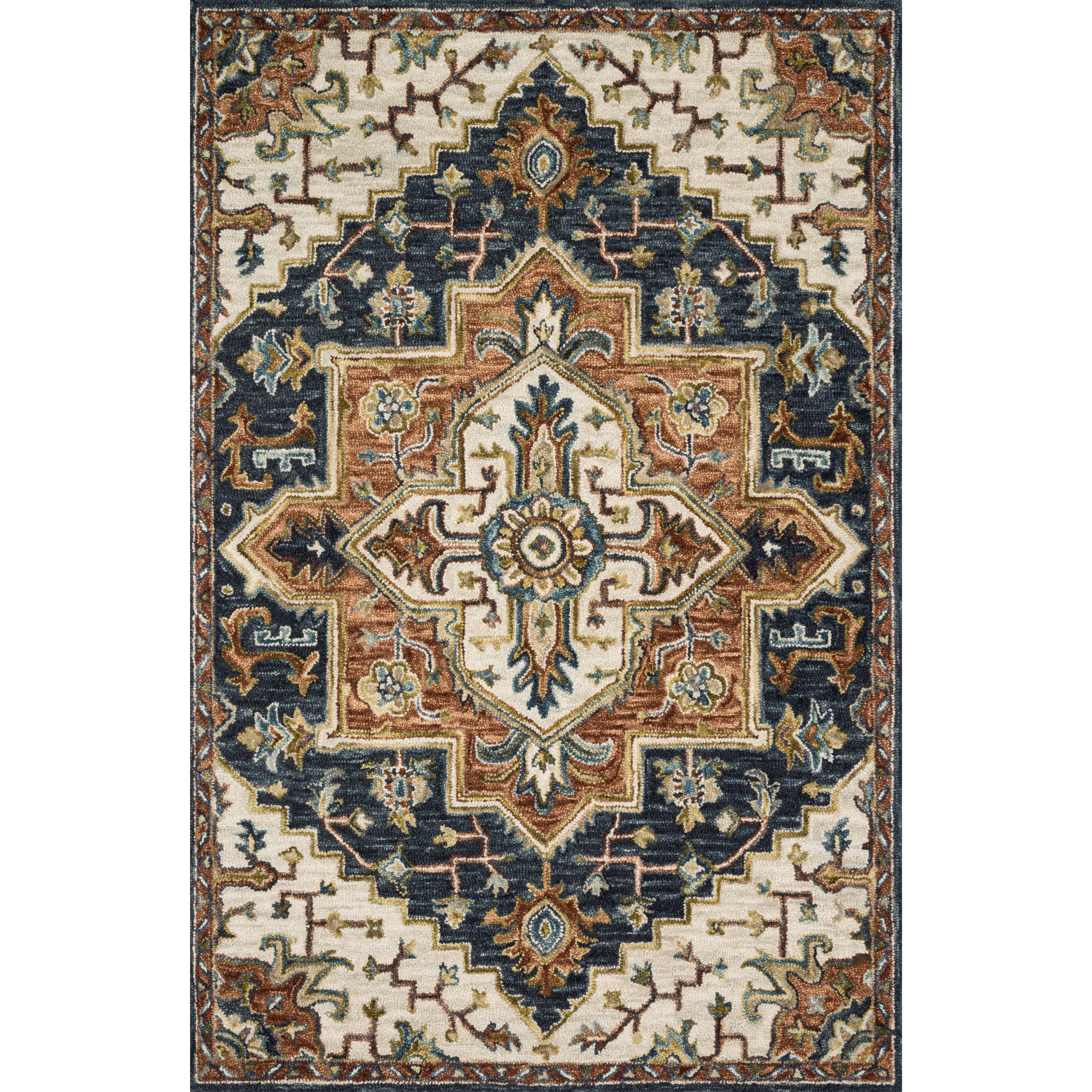 """Victoria 2'3"""" x 3'9"""" Blue / Multi Rug by Loloi Rugs at Virginia Furniture Market"""