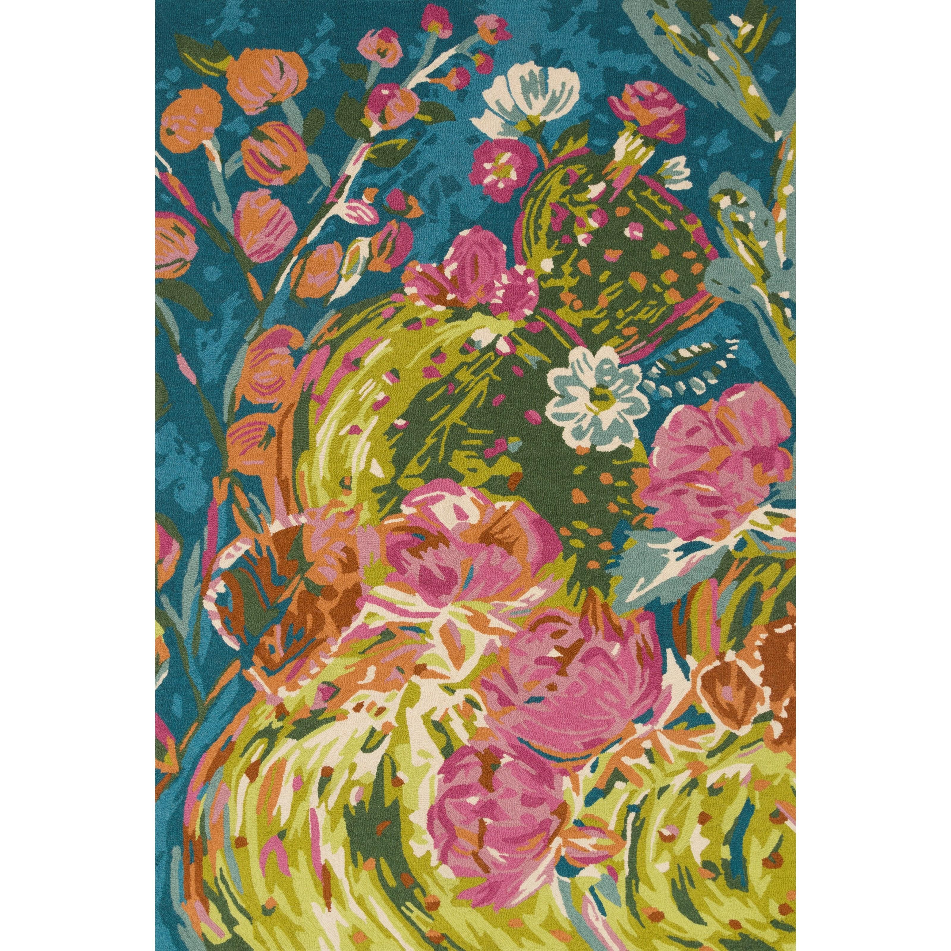 "Wild Bloom 1'6"" x 1'6""  Ocean / Multi Rug by Loloi Rugs at Virginia Furniture Market"