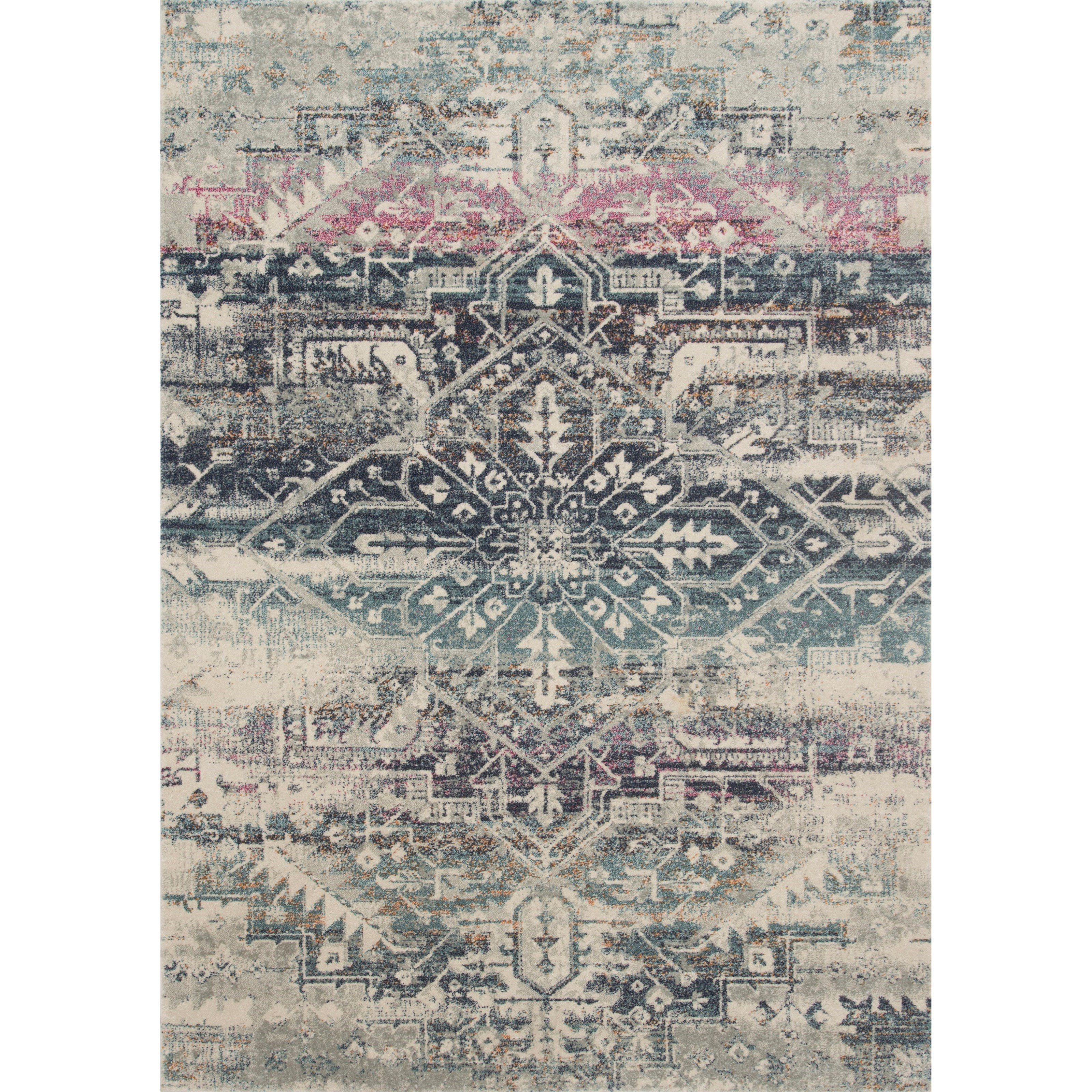 "Zehla 1'6"" x 1'6""  Midnight / Multi Rug by Loloi Rugs at Belfort Furniture"