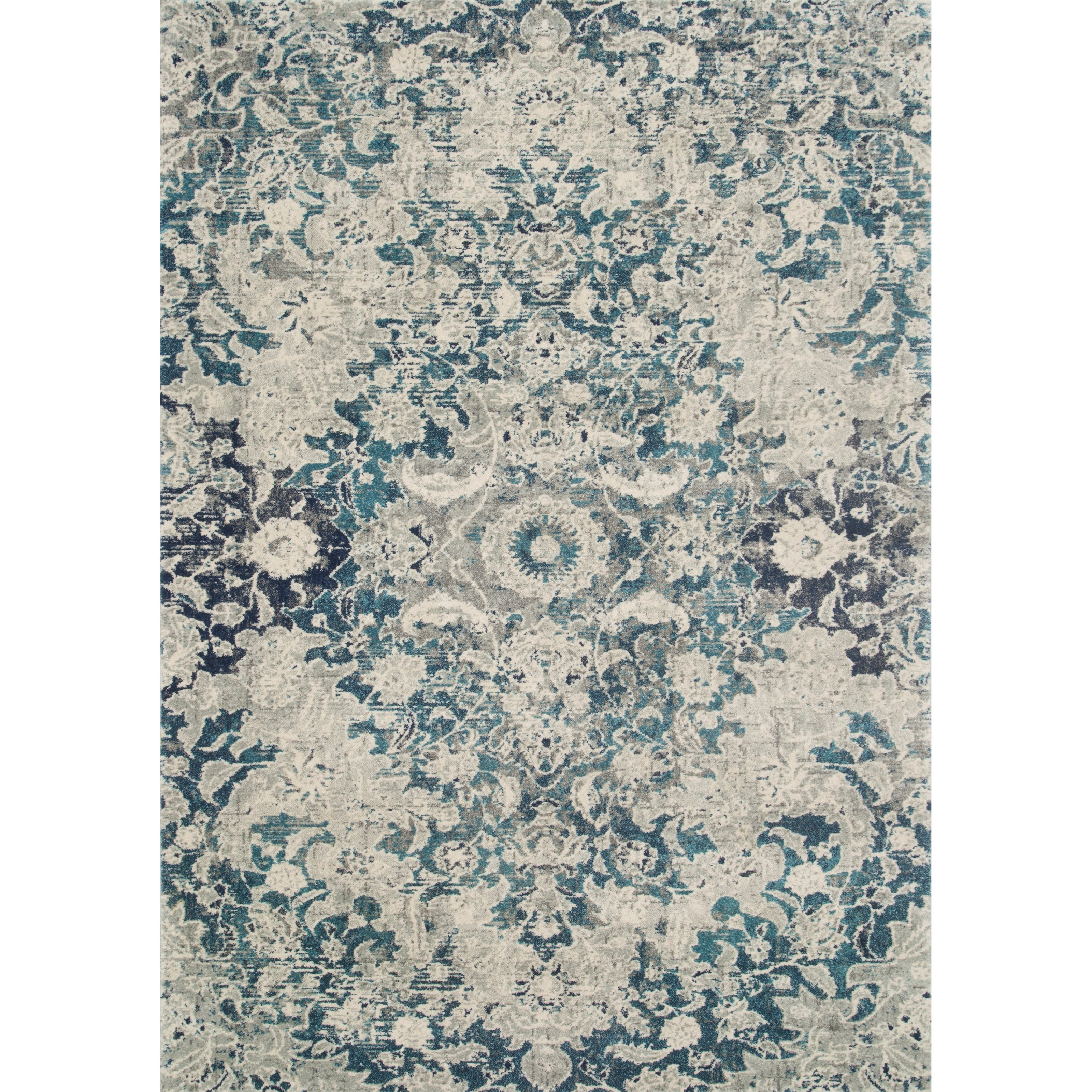 """Zehla 2'2"""" x 3'9"""" Ocean / Silver Rug by Loloi Rugs at Virginia Furniture Market"""