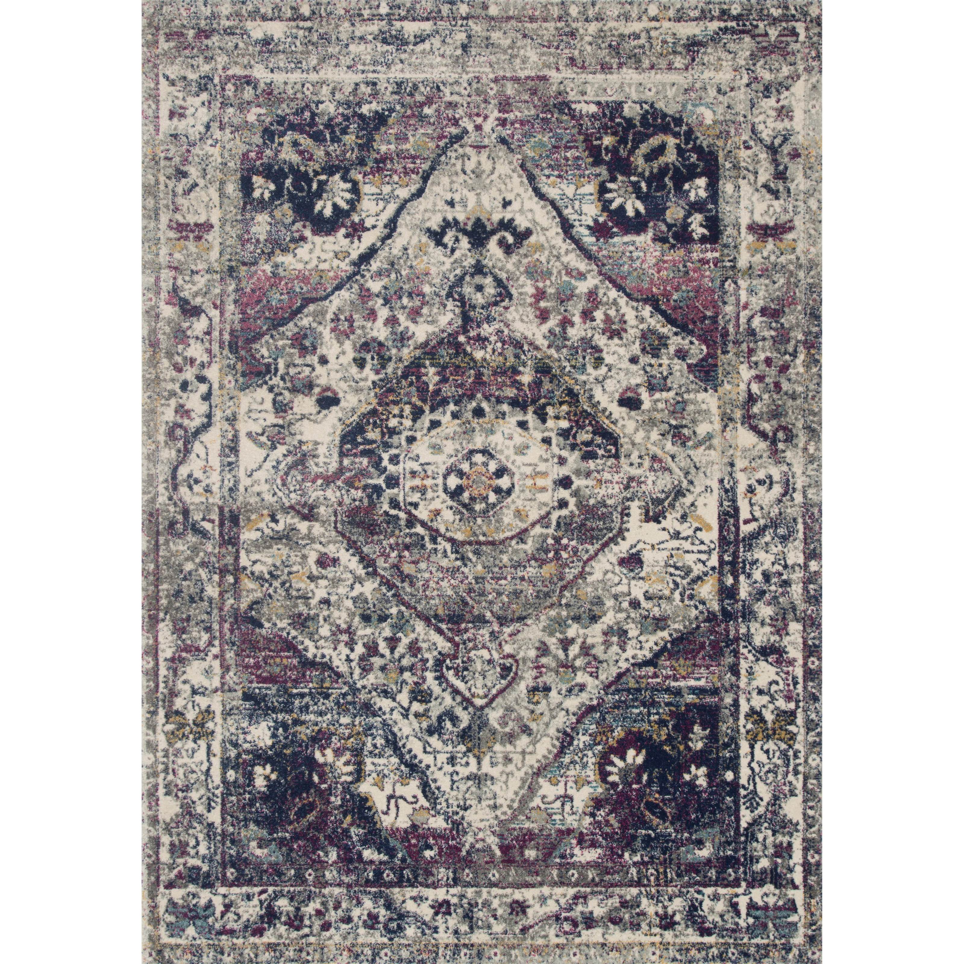 """Zehla 2'7"""" x 10'0"""" Ivory / Berry Rug by Loloi Rugs at Virginia Furniture Market"""