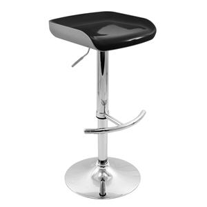 LumiSource Bar Tables and Stools  Sleek Barstool Silver/Black Seat