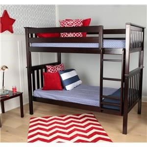 Twin Over Twin Bunk Bed: Espresso Finish