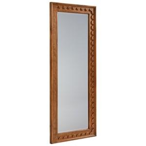 Floor Mirror with Scalloped Trim