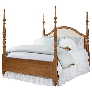 Magnolia Home by Joanna Gaines Primitive Queen Poster Bed with Upholstered Headboard