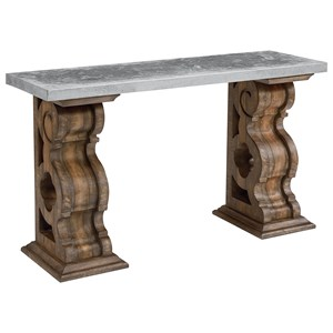 Hall Table with Zinc Top and Corbel Bracket Base