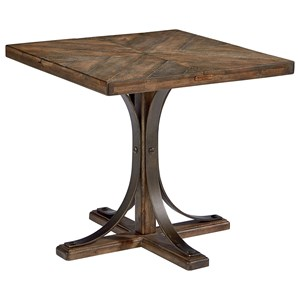 Wood Top End Table with Metal Pedestal Base