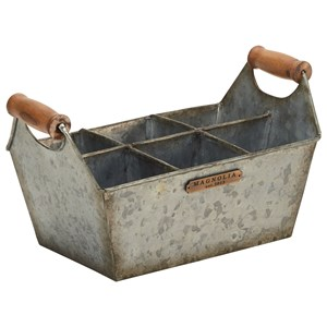 Metal Bucket with Wood Handles and Storage Compartments