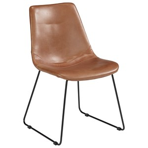 Molded Shell Side Chair with Brown PU Leather-Like Fabric