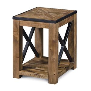 Chairside End Table with Square Block Legs