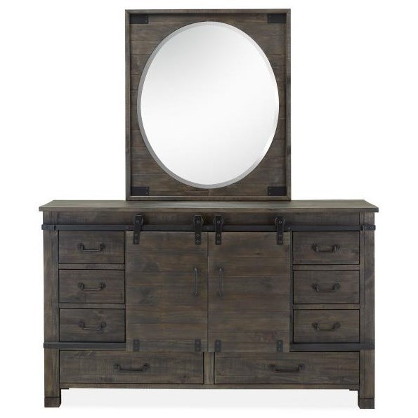 Abington Dresser and Mirror Set by Magnussen Home at Stoney Creek Furniture