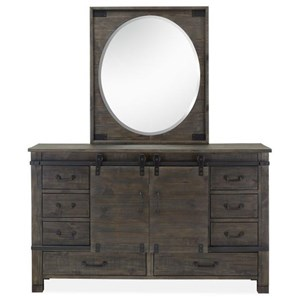 Sliding Door Dresser and Mirror Set