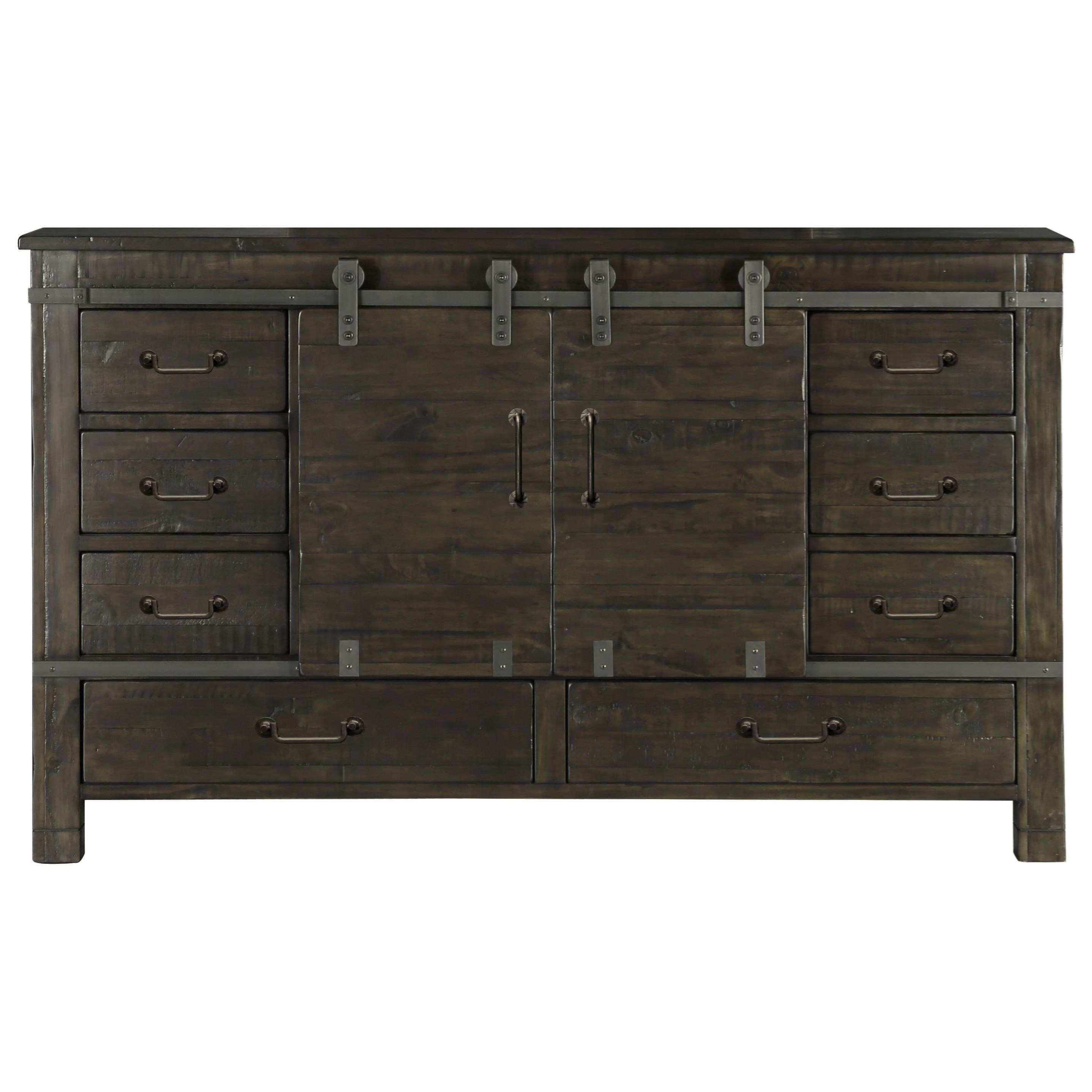 Abington Sliding Door Dresser by Magnussen Home at Dunk & Bright Furniture