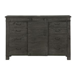 Weathered Gray Server with Eight Felt-Lined Drawers and Sliding Barn Door