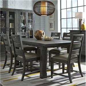 Seven Piece Dining Set with Extension Leaf Table