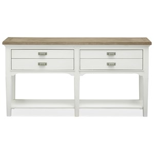 4-Drawer Sofa Table with Lower Shelf
