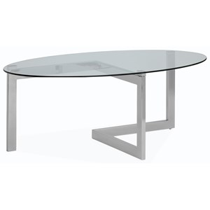 Contemporary Oval Cocktail Table with Tempered Glass Top