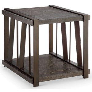 Rectangular End Table with Metal Base