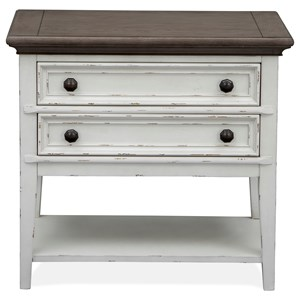 Relaxed Vintage Open Nightstand with USB Charger