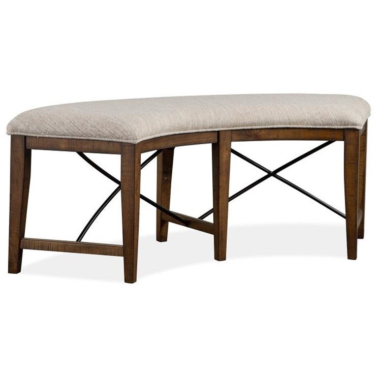 Curved Bench w/ Upholstered Seat