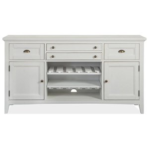 4-Drawer Buffet with Wine Bottle Rack