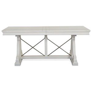 Rectangular Dining Trestle Table with Table Leaf