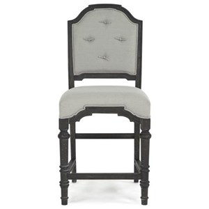 Upholstered Counter Height Stool With Tufted Back