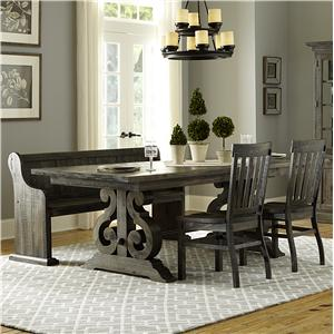 Transitional Four Piece Weathered Gray Dining Set with Butterfly Extension and Bench