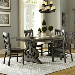 Transitional Five Piece Weathered Gray Dining Set