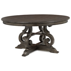 Transitional Weathered Gray Round Dining Table