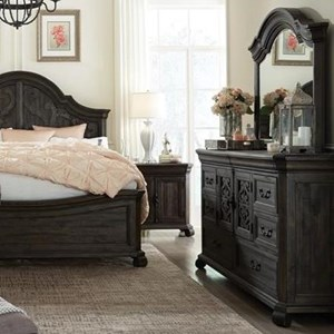 Traditional Dresser and Shaped Mirror Set