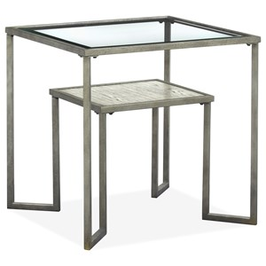 Contemporary Square End Table with Lower Shelf and Glass Top