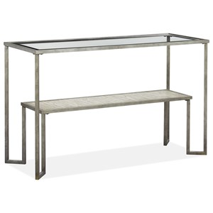 Contemporary Console Table with Lower Shelf and Glass Top