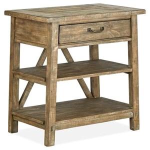 Rustic Open Nightstand with Shelves