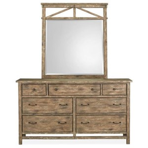Rustic Dresser and Mirror Set with Wooden Frame