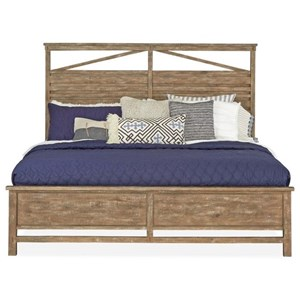 Rustic Queen Panel Bed with Raised Wooden Slats