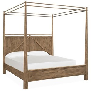 Rustic California King Poster Bed with Metal Canopy