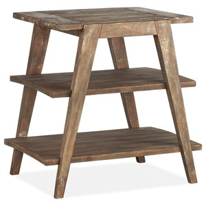 Rustic Shelf End Table with Distressed Finish