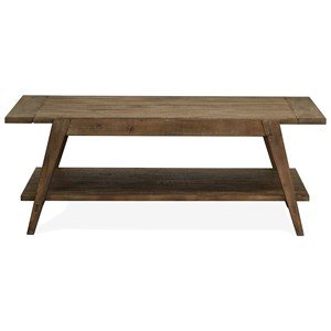 Rustic Shelf Cocktail Table with Weathered Finish