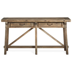 Rustic Flip Top Sofa Table with Weathered Finish