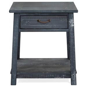 Rustic Rectangular Drawer End Table with Distressed Finish