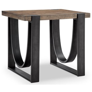 Rustic Rectangular End Table of Solid Wood