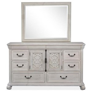 Farmhouse 8-Drawer Dresser and Rectangular Mirror Set