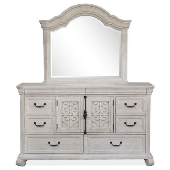 Bronwyn Dresser and Shaped Mirror Set by Magnussen Home at Stoney Creek Furniture
