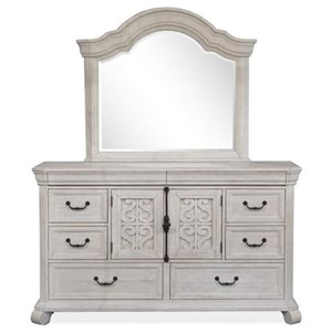 Farmhouse 8-Drawer Dresser and Shaped Mirror Set