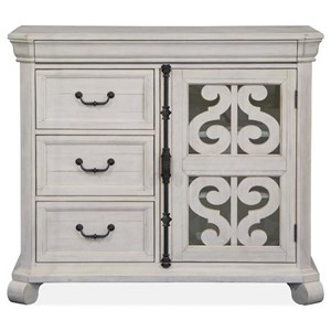 Farmhouse 3-Drawer Media Chest with Glass Door
